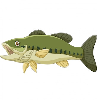 Pescado bajo de dibujos animados aislado