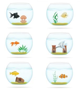 Pescado en una ilustración vectorial de acuario transparente