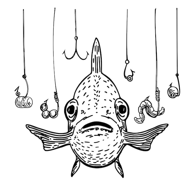 Pescado y muchos anzuelos símbolo de pesca dibujado a mano la metáfora de que el pez está en peligro