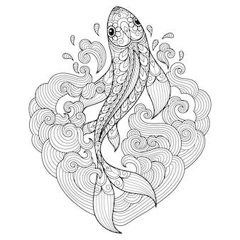 Pescado en las ondas del corazón. ilustración de boceto dibujado a mano para libro de colorear para adultos.
