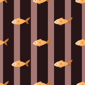 Pescado de patrones sin fisuras sobre fondo de rayas marrón. adorno moderno con animales marinos. plantilla geométrica para tela. ilustración de vector de diseño.