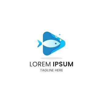 Pescado con plantilla de diseño de icono de logotipo de medios de botón de reproducción