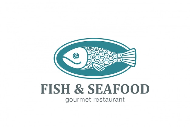 Pescado en plato logo vector icono