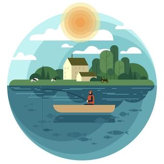 Pescador en un barco atrapa un pez en un estanque o lago de un pueblo