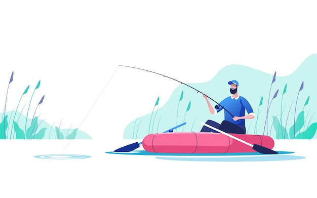 Pescador con una caña de pescar en el barco en el río deporte de pesca recreación de verano al aire libre tiempo de ocio ilustración