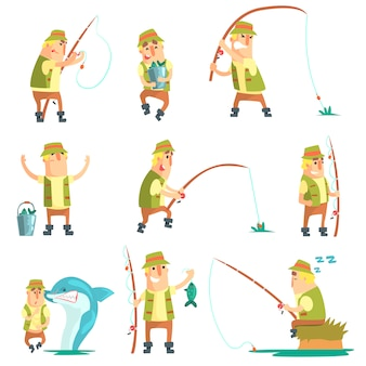 Pescador en diferentes situaciones divertidas conjunto de ilustraciones