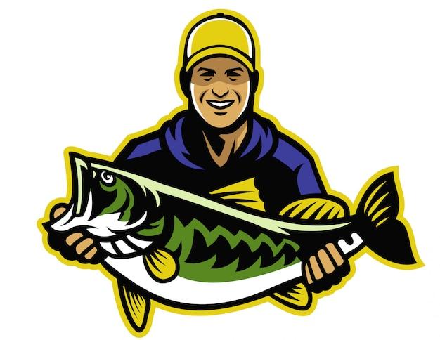 Pescador y gran captura de contrabajo.