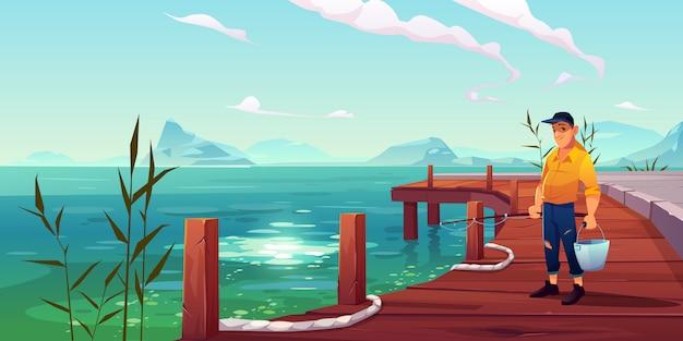 Pescador en la ilustración de muelle, paisaje marino y colinas