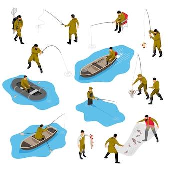 Pescador isométrico con personajes humanos aislados de piscators en diferentes situaciones con botes y aparejos