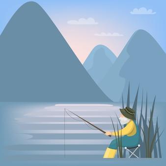 Pescador en la naturaleza pesca desde el banco.