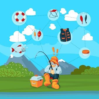 Con pescador y pesca de dibujos animados