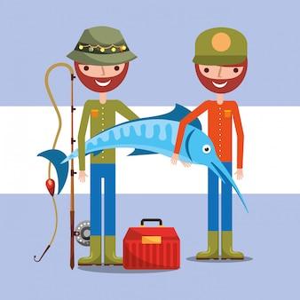 Pescador pescando dibujos animados