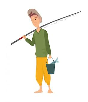 Pescador plano. gente de pesca con peces y equipo conjunto de vectores. equipo de pesca, ocio y hobby atrapar peces ilustración.