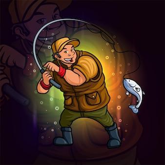 El pescador profesional esport mascota diseño de ilustración.