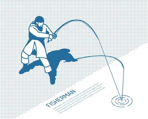 Pescador en ropa protectora con caña giratoria durante la captura de peces en una ilustración isométrica monocromática con textura