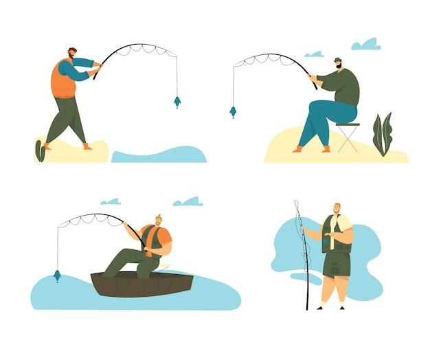 Pescador sentado en barco y parado en la costa con caña de pescar