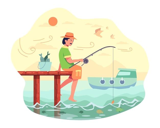 Pescador sentado pescando al final del puente con una caña de pescar y cebo, en el mar
