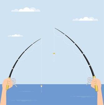 Pescador tiene caña de pescar con carrete en sus manos, cañas giratorias. ilustración.
