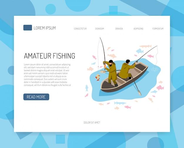 Pescadores en bote durante la captura de peces concepto isométrico de banner web con elementos de interfaz