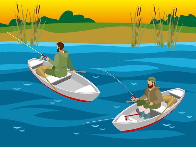Pescadores en botes con cañas giratorias durante la captura de peces en el río isométrica