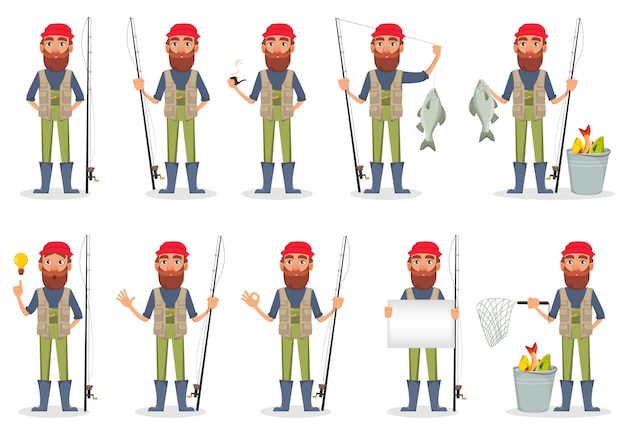 Pescadores con caña de pescar y pescado.