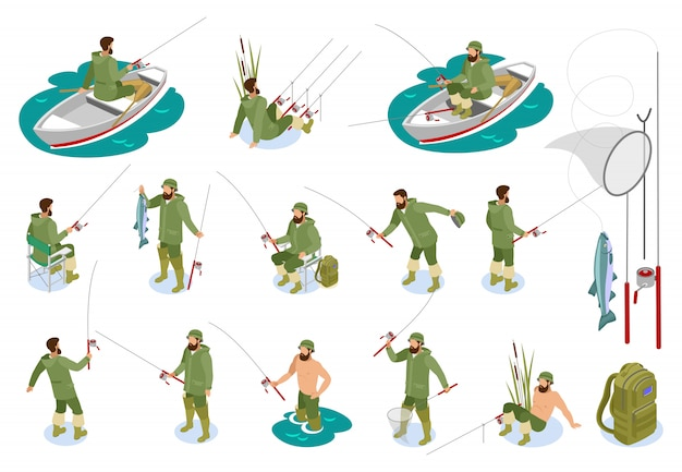 Pescadores durante la captura de peces en la caña de spinning conjunto de iconos isométricos con aparejos aislado