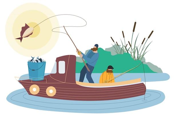 Pescadores que capturan peces personajes planos