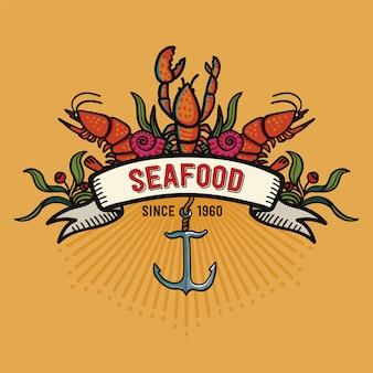Pescados y mariscos en estilo de dibujos animados. logotipo del restaurante sobre fondo amarillo.