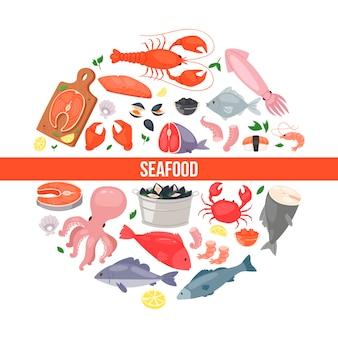 Pescados y mariscos en estilo plano