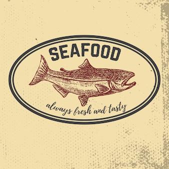 Pescados y mariscos frescos. salmón dibujado a mano sobre fondo grunge. elementos para el menú, etiqueta, emblema, signo, marca, cartel. ilustración
