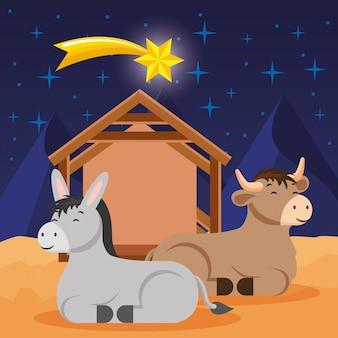 Pesebre con dibujos animados de burro y buey