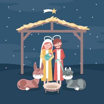 Pesebre navideño en diseño plano