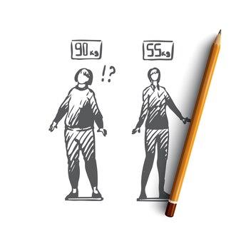 Peso corporal femenino dibujado a mano
