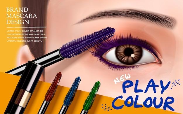 Pestañas y pinceles de colores para uso publicitario