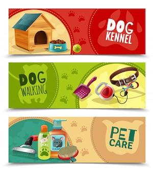 Pet care 3 banners horizontales establecidos