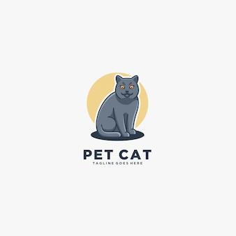 Pet cat, cat beautiful pose ilustración logo.