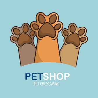 Pet feets up icon aislado