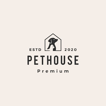 Pet house dog cat hipster vintage logo icono ilustración