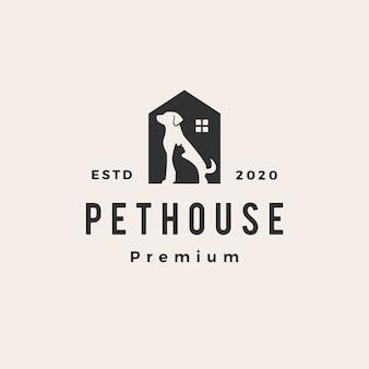 Pet house perro gato vintage logo