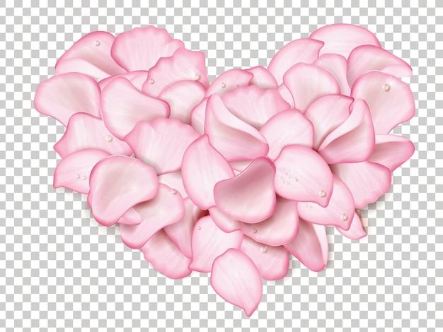 Pétalos de rosa rosa en forma de corazón