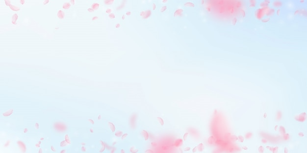 Pétalos de sakura cayendo. romántico gradiente de flores de color rosa.