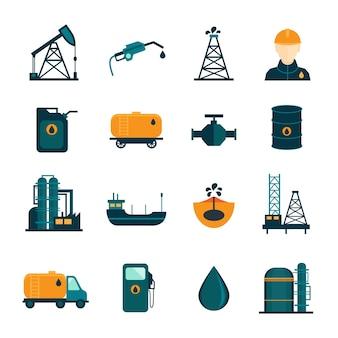 Petróleo, industria, perforación, refinación, proceso, petróleo, transporte, iconos, conjunto, oilman, bomba, plano, aislado, vector, ilustración