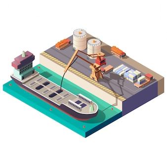 Petróleo transportando por barco isométrico vector