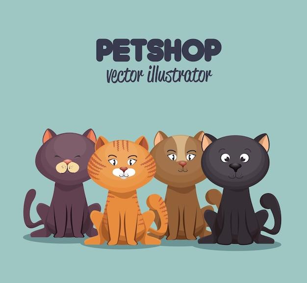 Petshop cuidado y aseo mascota gráfico