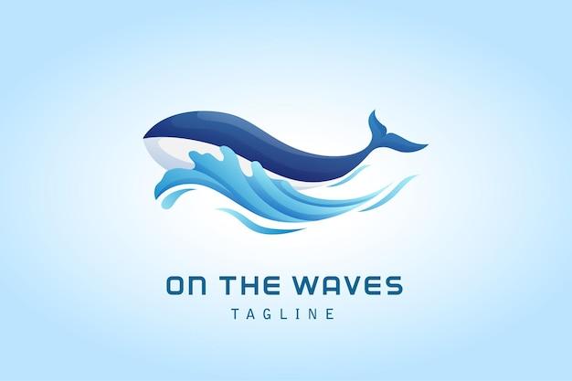 Pez ballena con logo degradado de onda