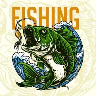 Pez depredador para el logo del club de pesca