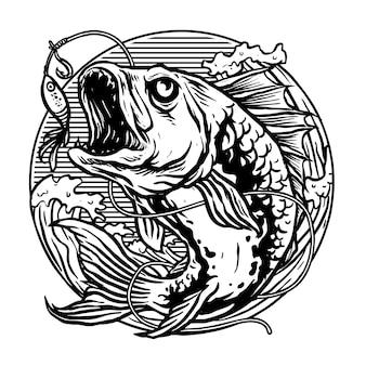 Pez depredador para el vector del logo del club de pesca