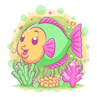 El pez disco de colores nada con la gran sonrisa