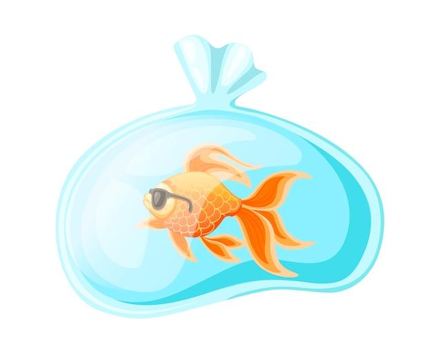Pez dorado en bolsa de plástico con agua. icono colorido plano. pescado con gafas de sol. ilustración aislada sobre fondo blanco.