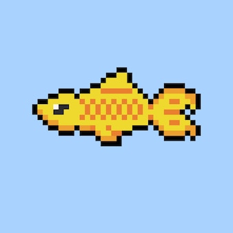 Pez dorado con estilo pixel art